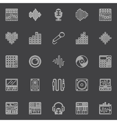 Musical studio linear icons vector