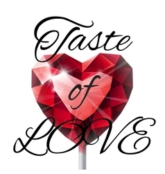 Isolated shiny red ruby heart shape lollipop with vector