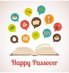 Passover hagadah with traditional icons vector