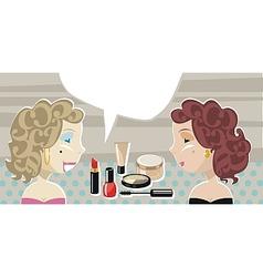 Stylish Ladies And Cosmetics vector image