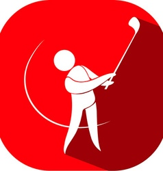 Golf icon on red badge vector