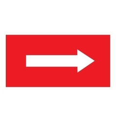 Arrow sing white icon in red rectangle vector