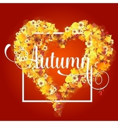 Autumn frame in shape of heart vector