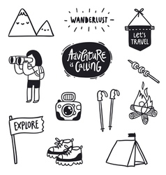 Outdoor adventures doodle set vector