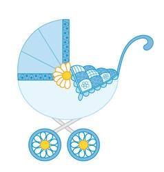 Baby boy stroller vector