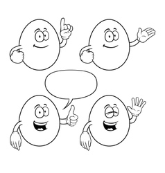 Black and white smiling egg set vector image vector image