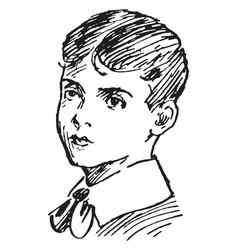 Boy wearing collar shirt vintage engraving vector