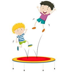 Boys jumping on trampoline vector image vector image