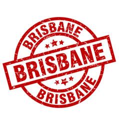 Brisbane red round grunge stamp vector