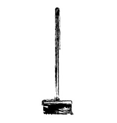 broom with wooden stick in monochrome blurred vector image vector image