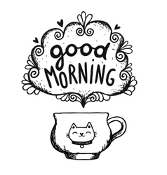 Good morning sketch with cup of coffee and cat vector