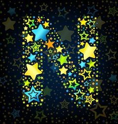 Letter N cartoon star colored vector image vector image