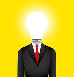 Light bulb head businessman vector
