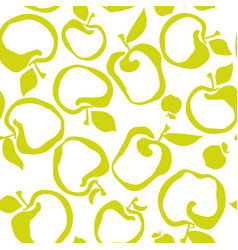 Lime green color simple flat apple fruit seamless vector