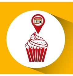 Mobile phone dessert shop locater vector