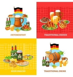 Oktoberfest Concept 4 Flat Icons Square vector image vector image