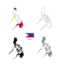 Philippines country black silhouette and with flag vector