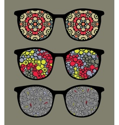 Retro sunglasses with pattern reflection vector image vector image