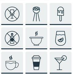 set of 9 eating icons includes alcohol forbid vector image