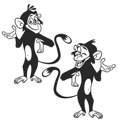 set of cartoon monkey expression vector image