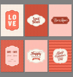 Set of valentine greeting card template vector