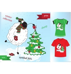 Sheep in winter hat Graphic T- shirt design print vector image