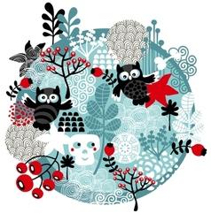 Skulls owls and flowers vector