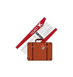 Boarding pass and suitcase icon vector