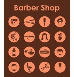 Set of barber shop simple icons vector