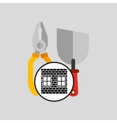 Construction brick tools work graphic vector