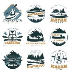 Canoe kayak emblem set vector