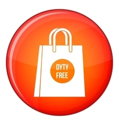 Duty free shopping bag icon flat style vector