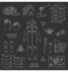 Beekeeping equipment collection vector