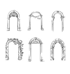Set of arches architectural detail vector