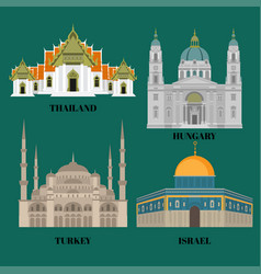 Israel hungary turkey and thailand travel icons vector