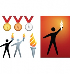 Olympic flame icons vector