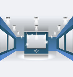 Interiors exhibition hall with white frames on vector