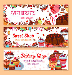 Bakery banners for sweet dessert shop vector
