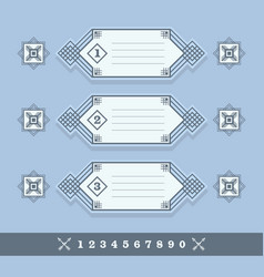 Modern numerical line banners icons set on blue vector