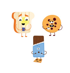 Set of funny characters from toast biscuits vector