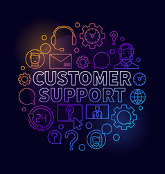 Colorful customer support round vector