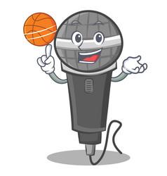 Playing basketball microphone cartoon character vector
