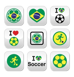 Brazilian flag football or soccer ball buttons se vector image
