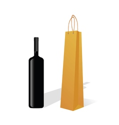bottle of wine with paper bag vector image