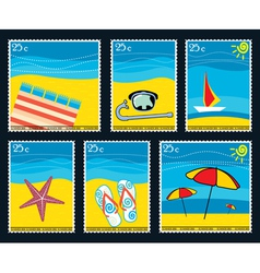 summer postage stamps vector image