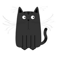Cute black cartoon cat big moustache whisker funny vector