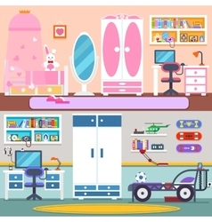 Boy girl room bed and workspace vector