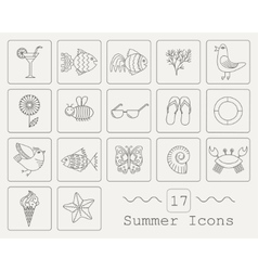 Summer icons with white background vector