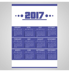 2017 simple business blue wall calendar with white vector
