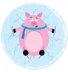 As a hog on ice vector